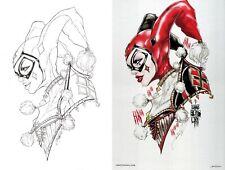 Jamie Tyndall Signed Batman Original Art Sketch & Metal Print Set ~ Harley Quinn