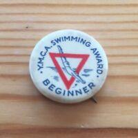 YMCA Swimming Award Beginner Vintage Button Pin Back NYC New York