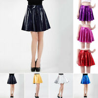 New Womens Shiny Metallic Wet Plain Skater Flared Short Pleated Short Mini Skirt
