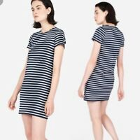 Everlane Women's Small Navy Blue White Striped Crew Mini Cotton Tee Shirt Dress