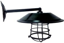 "Satin Black Barn Light Gas Station Light 12"" Wall Mount NEW Cage Corded Option"