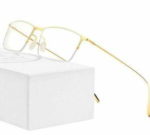Men Glass Frame Ultralight Titanium Square Myopia Half Optical Frame Eyeglasses
