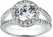 1.75 carat, 1 carat center Round Diamond Halo Engagement Wedding 14k Gold Ring