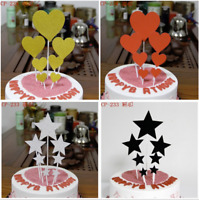 7Pcs Cake Topper Paper Folding DIY Birthday Party Gold Cup Cake Gold Heart Star