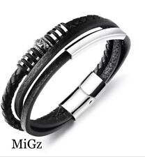 MiGz MULTILAYER  BLACK LEATHER  STAINLESS STEEL BRACELET FOR MEN 19.5cm
