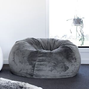 New Ivory & Deene Fur Beanbag Charcoal Velvet Bean Bag Cover Grey Cloud Chair