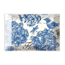 Michel Design Works Glass Soap Dish Indigo Cotton Blue Floral Birds - NEW