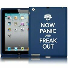 For Apple iPad 2/3 Now Panic & Freak Out Silicone Rubber Soft Skin Cover - Blue