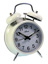 Atlanta meccanico orologio sveglia viaggio bianco cassa in metallo 1053/0 NUOVO