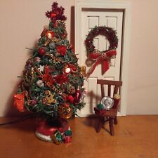 Dollhouse miniature lighted decorated christmas tree & wreath