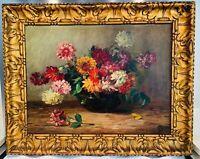 """Sublime grande HUILE SUR TOILE datant du XIXe  """"Le Bouquet de Dahlias"""", signée"""
