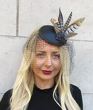 Black Brown Birdcage Veil Pheasant Statement Feather Fascinator Pillbox Hat 2308