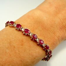 NATURAL RED RUBY Diamond Tennis Bracelet 18K Yellow Gold Line 18kt 750 Vintage