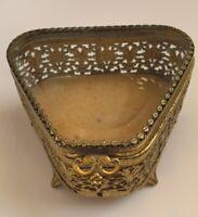 Old Ornate Gold Filigree Beveled Glass Trinket Box Jewelry Casket Velvet Bottom