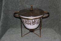 Vintage Fire King Fred Press Gold Patterned Splash Proof Bowl with Lid & Cradle
