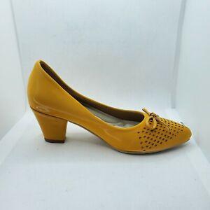 "Women's yellow Mesh platform 2"" 1/2  high heel dress shoe Luxury Hand made sz6.5"