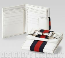 GUCCI white Horsebit red & blue Web detail HERITAGE French wallet NIB Authentic!