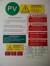 Solar Panel Grid connect complete safety label kit high quality FREE POST