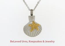 Starfish On Seashell, Beach, Sand Cremation Jewelry Keepsake Urn Pendant Fish