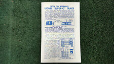 LIONEL SUPER O TRACK #s 31 32 33 34 36 37 38 48 49 61 62 INSTRUCTIONS PHOTOCOPY