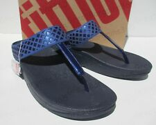 Ladies FITFLOP SAFI TOE POST Toning Fit Flops Sandals UK 6 Blue New In Box