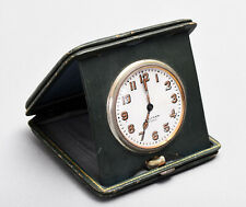 Old Waltham 8 Days Travel Clock - Pocket Watch Style - Dark Green Folding Case