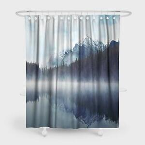 Nice Mountain Lake Reflection Landscape Waterproof Fabric Shower Curtain