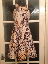 Miss Selfridge Leopard Print Skater Dress Vgc Size 8