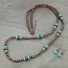 Long Western Copper-Tone Faux Turquoise Faux Navajo Style Pearl Necklace 48""