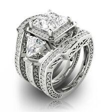 Charm Women Jewelry 925 Silver White Topaz Wedding Anniversary Set Ring Size6-10