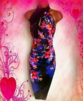 KAREN MILLEN STUNNING SATIN TROPICAL STRETCH WIGGLE EVE/CRUISE DRESS SIZE 10 VGC