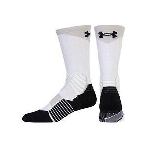 UNDER ARMOUR UA Drive White Black Grey Basketball Crew Socks NEW Mens M 4-8.5