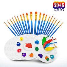 20Pcs Paint Pallet Brushes+6Pcs Paint Trays Kids Adults DIY Painting Tool Set