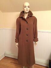 Vintage NINA RICCI Brown Superfine Merino Wool & Fur Long Coat SIZE 10/Large