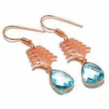 Checkered Blue Topaz Gemstone Rose Gold Plated Jewelry Earring 2.1""