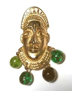 Rare STATEMENT Gripoix DOMINQUE AURIENTIS Paris AFRICAN HEAD Modernist PIN