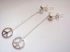 Peace Symbol on Chain Ball Stud Earrings 925 Sterling Silver Corona Sun Jewelry