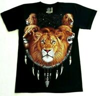 Mens Black T Shirt Lion Glows In The Dark Graphic Print Tee Top Size S Rare