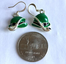 Leprechaun Hat and Pipe Green Enamel  on Silver Plate Charm Dangle Earrings
