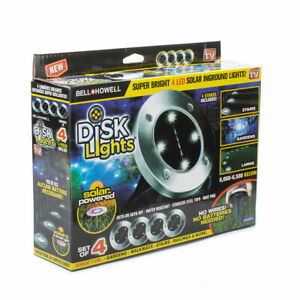 Bell   Howell Disk Lights Solar Weatherproof Led Outdoor  As Seen On Tv 4 Pack