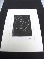"""MATISSE HENRI - REPRODUCTION GRAPHIQUE DE 1987 D'1 OEUVRE DE 1944  """"VISAGE 3"""" /6"""