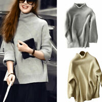 Women's High-Neck Knitted Cashmere Sweater Jumper Wool Pullover Casual S-XL