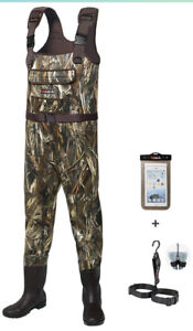 Hisea Chest Waders Fishing Men's W Boots Waterproof Camo-2 Ply Nylon/PVC Size 5