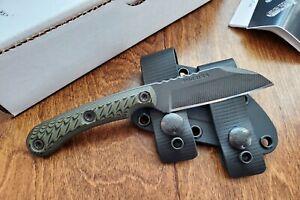 "RMJ Tactical Coho Knife, 3"" Cerakote 52100 Blade, Dirty Olive G-10, Black Sheath"