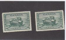 CANADA (MK6944) # 259x2 VF-MNH  2cts 1943 2 CDN ARMY RAM TANKS /DULL GRN CV $36