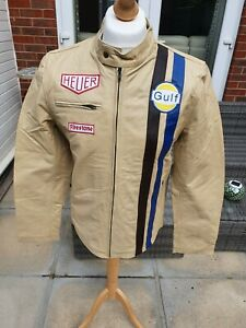 STEVE MCQUEEN Tag Heuer Gulf Mens 100% COWHIDE LEATHER BEIGE Jacket Size LARGE