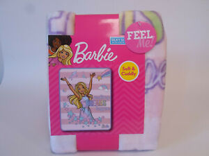 "Barbie Silky Soft Throw Blanket 40"" x 50"" Making Dreams Happen Unicorns Stars"