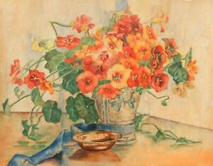 ART DECO WATERCOLOUR - STILL LIFE - POTTERY VASE WITH WILD FLOWERS -  P137