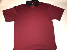 FootJoy XL Polo Pullover Golf Shirt Red/Black 3 Button Polyester/ Spandex
