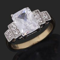 Emerald Cut White Sapphire 18K Gold Filled Woman's Wedding Ring Size 6-10 Gift